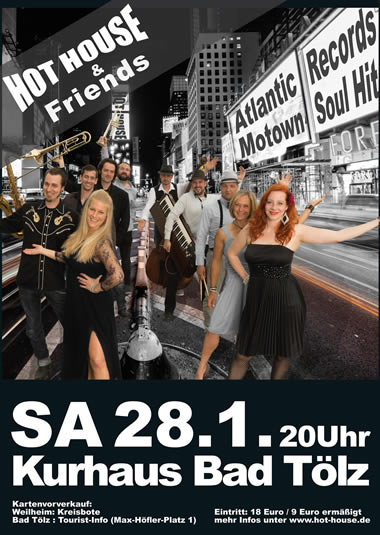 Hot House and Friends Konzert Jan 2017 Stadthalle Weilheim Flyer