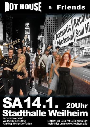 Hot House and Friends Konzert Jan 2017 Stadthalle Weilheim Flyer