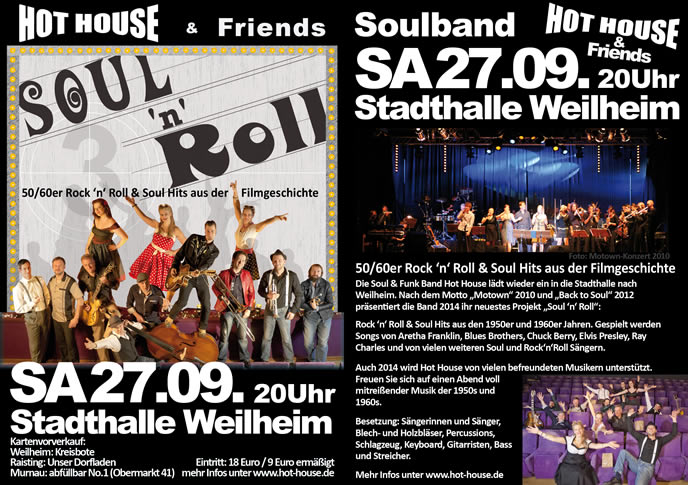Flyer A6-Hot House Stadthalle Weilheim 2014